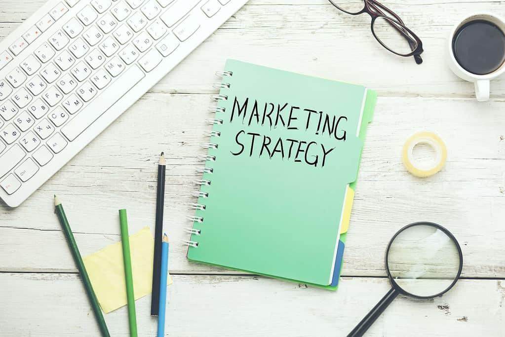 Marketing Strategy Flat Lay Notebook