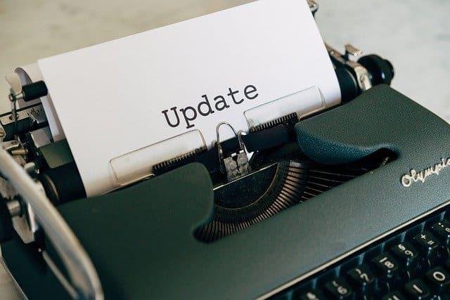 update written on typewriter