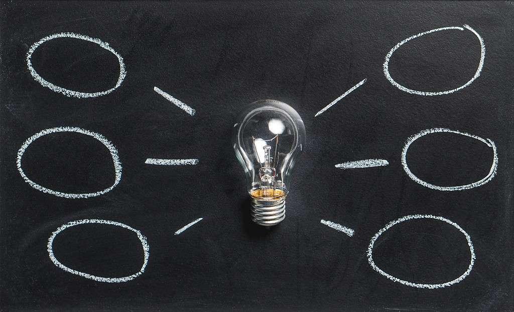 light bulb on chalk board