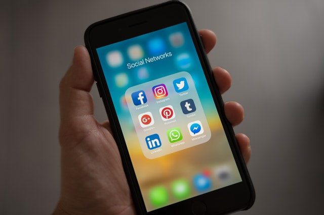 mobile phone with social media icons