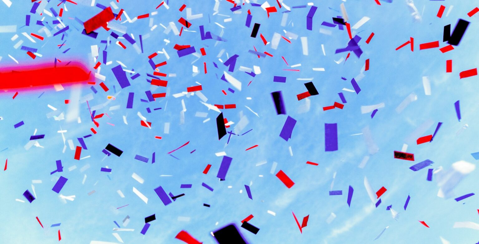 celebration streamers in the air
